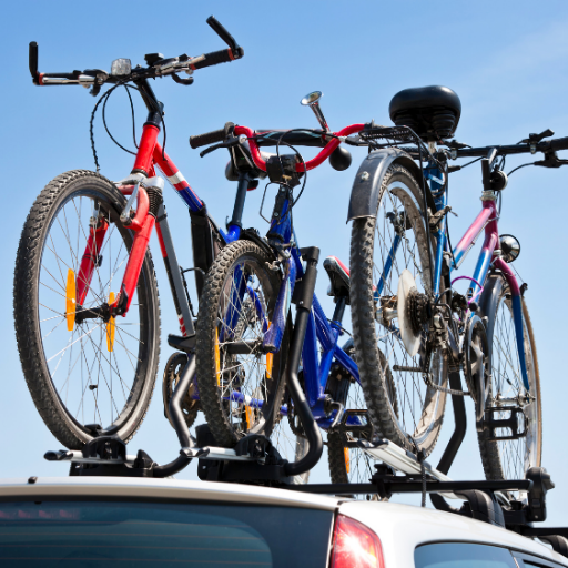 group of bikes on truck roof rack